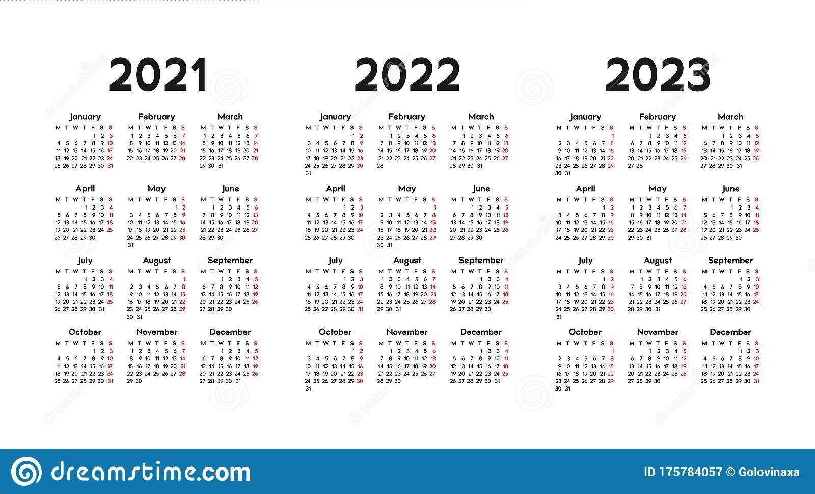 Calendar 2021, 2022 And 2023, Week Starts On Monday, Basic