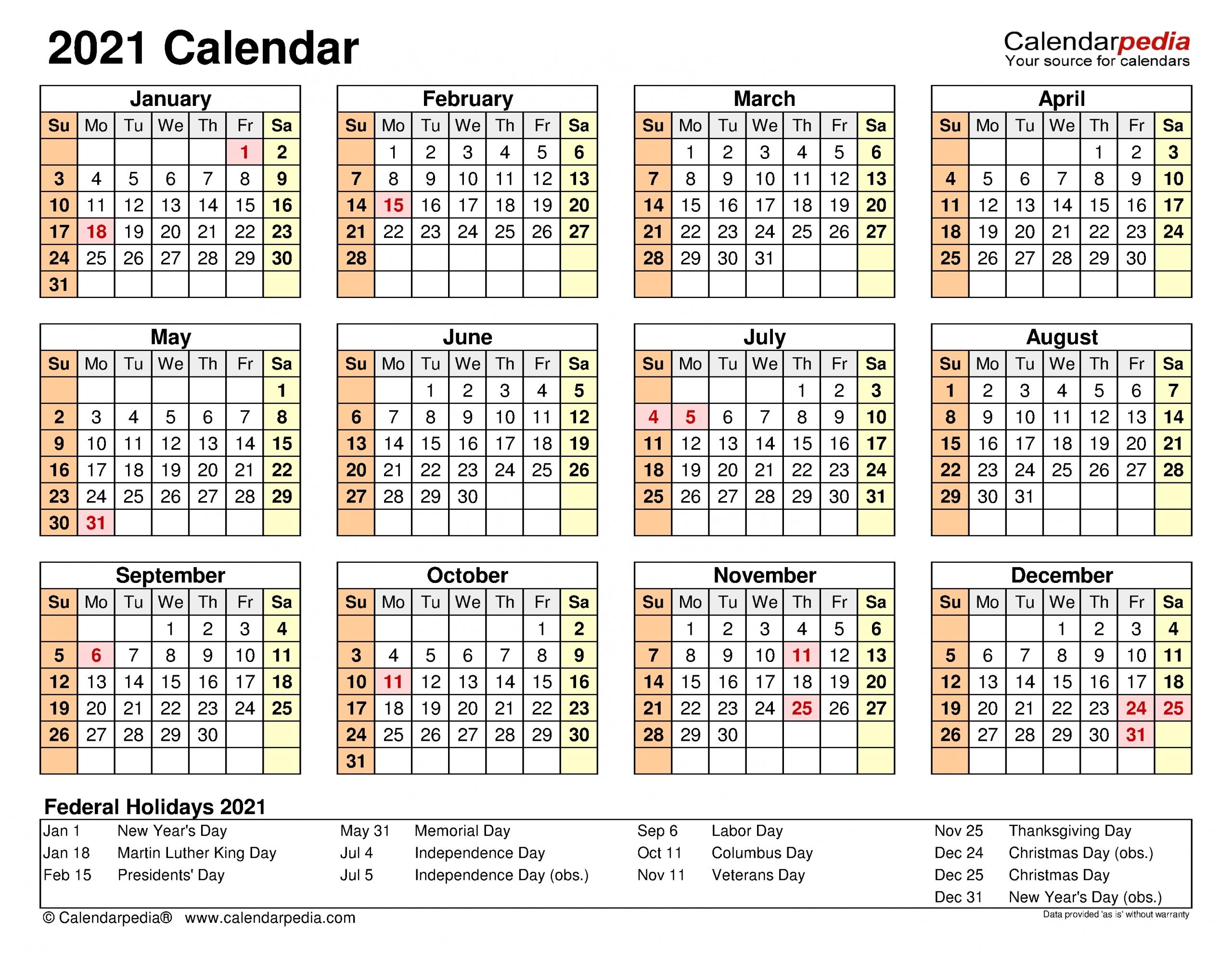 Calendar 2021 Excel | Month Calendar Printable