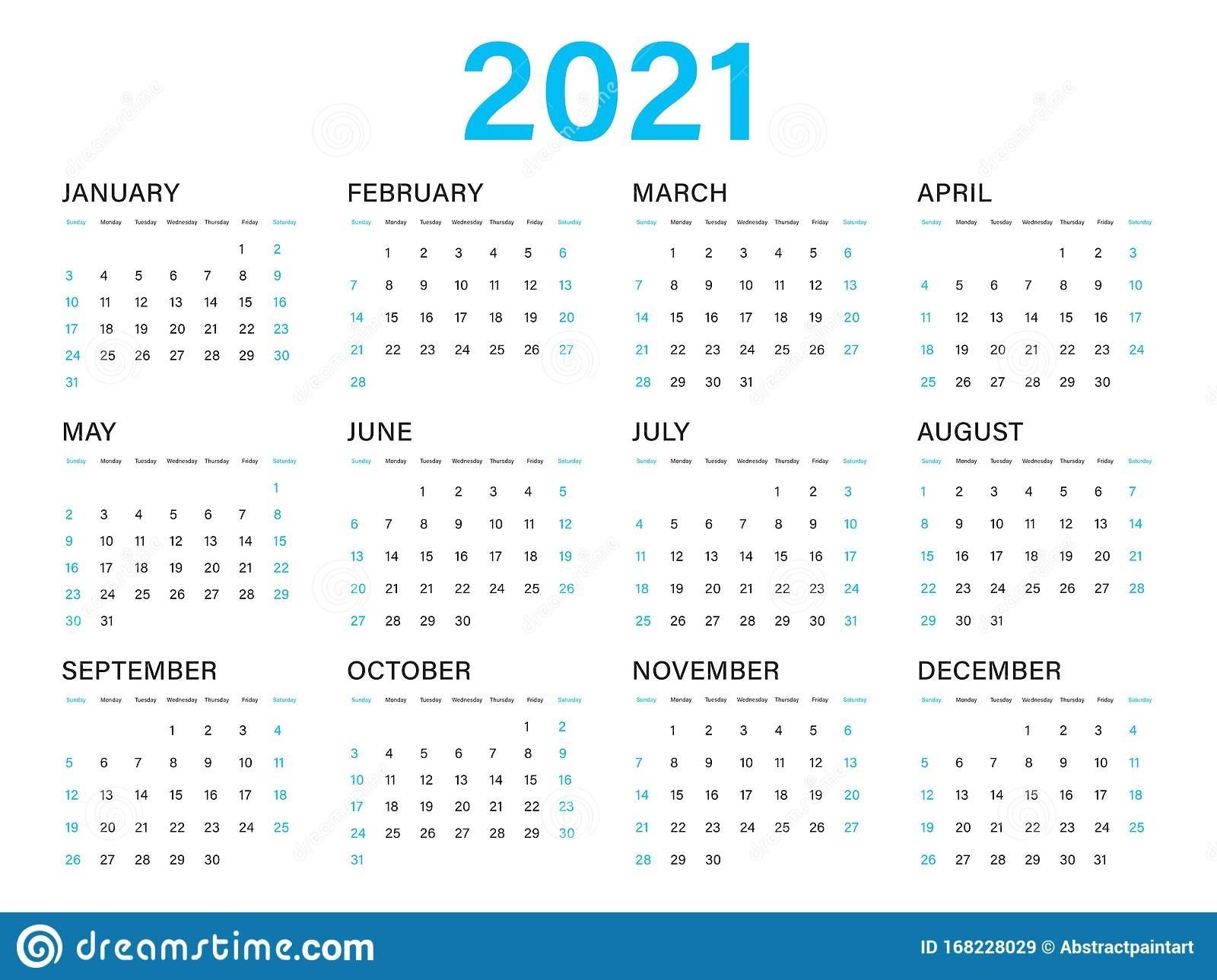 Calendar 2021 Vector Template, Simple Minimal Design Stock