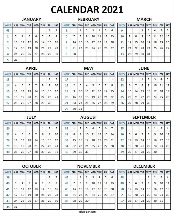 Calendar 2021 With Week Number - 2021 Printable Calendar