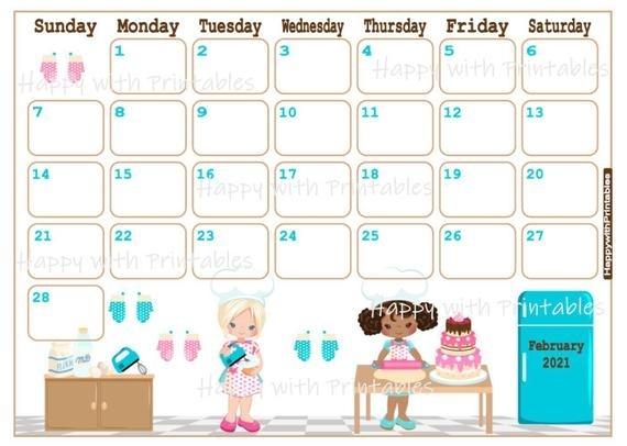 Calendar February 2021 February Planner Printable Girly | Etsy