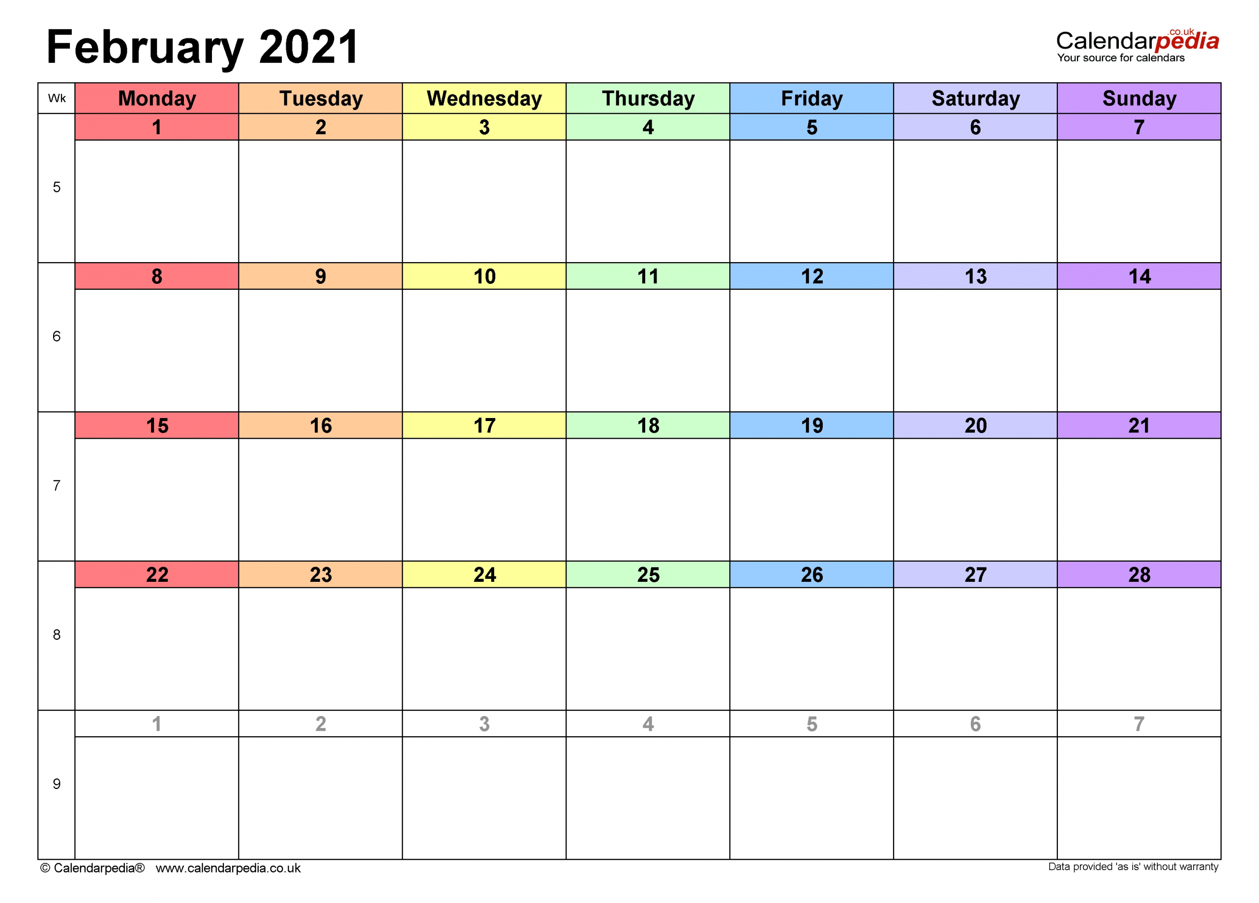 Calendar February 2021 Uk With Excel, Word And Pdf Templates
