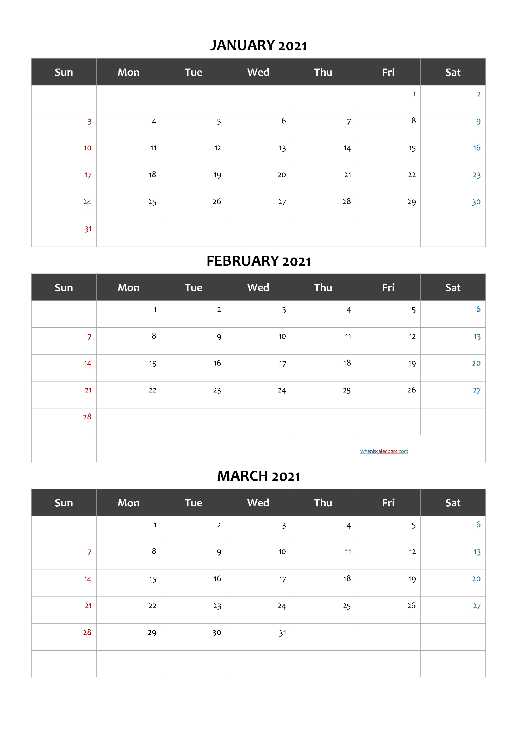 Calendar January February March 2021-Template Code.cand1