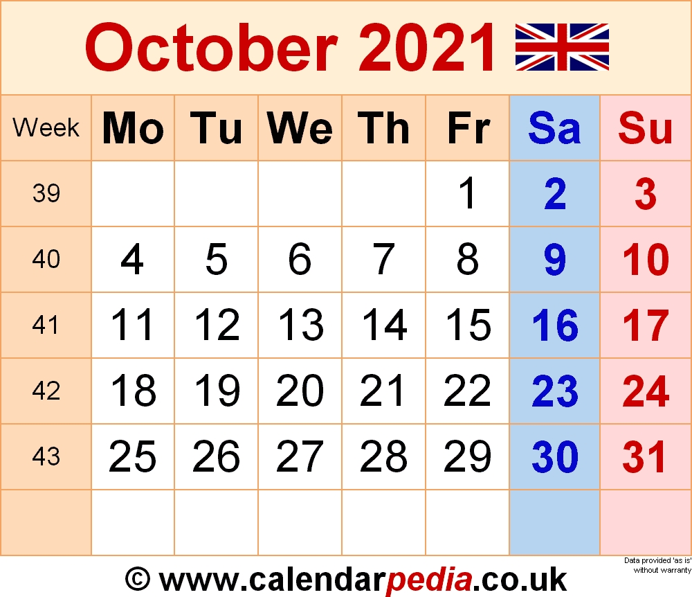 Calendar October 2021 Uk With Excel, Word And Pdf Templates