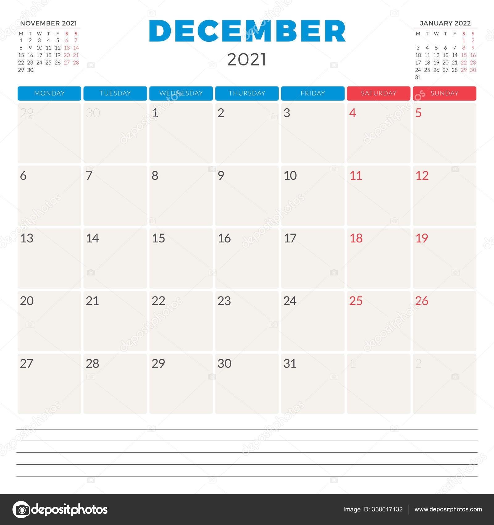 Calendar Planner For December 2021. Week Starts On Monday