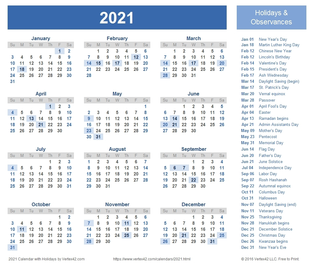 Calendar Template 2021 Google Docs | Calendar Template 2021