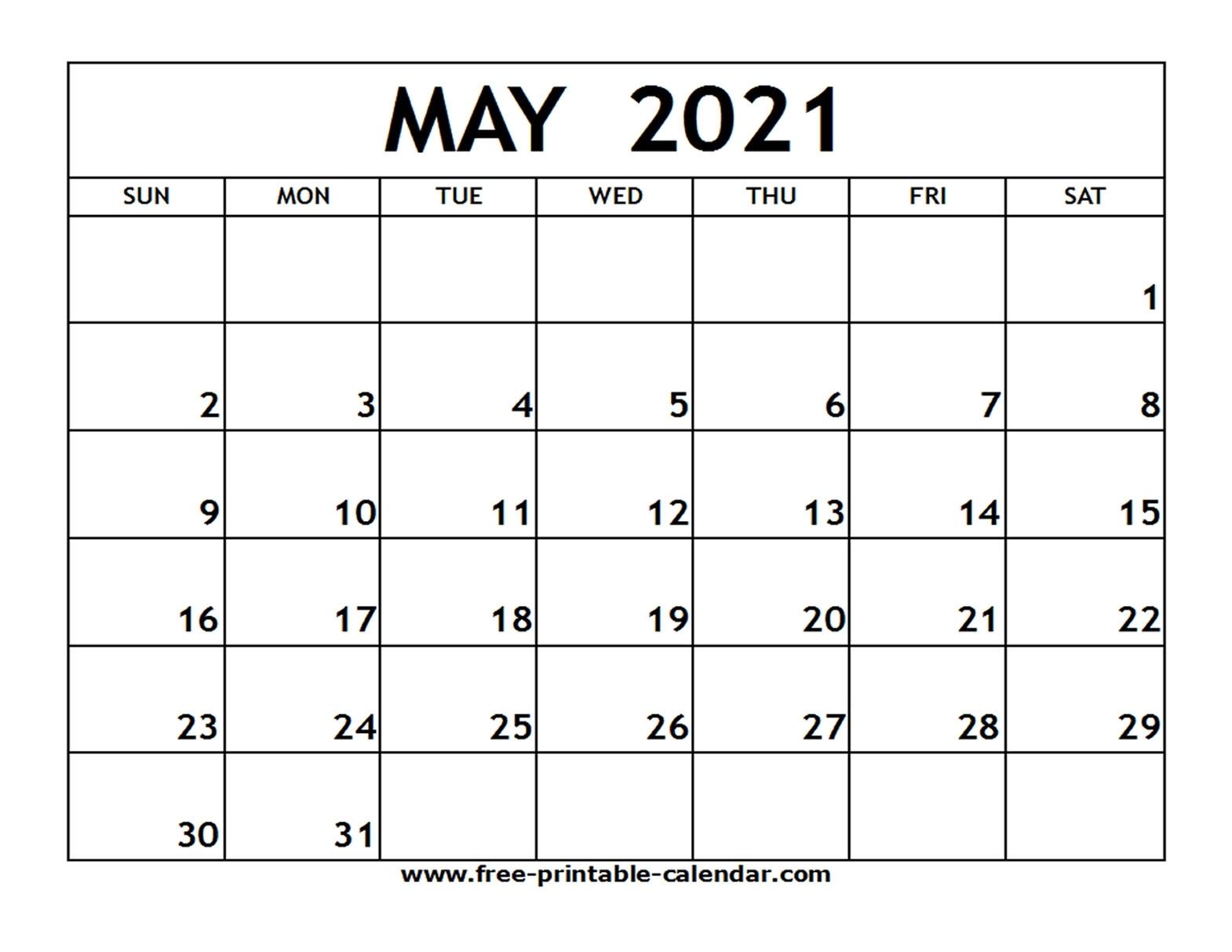 Calendar Template April May 2021   Free Printable Calendar