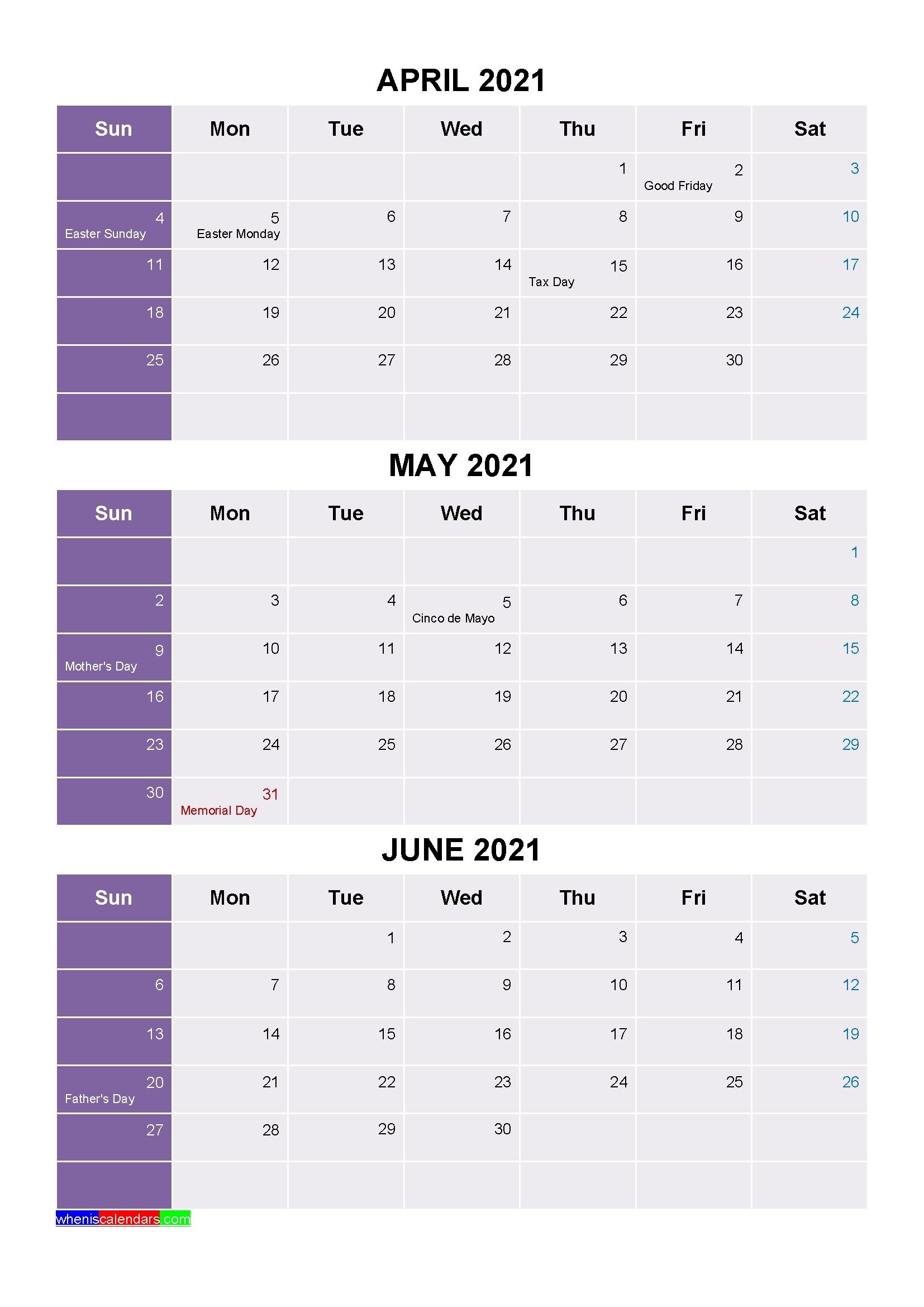 Calendarquarter 2021 | Month Calendar Printable