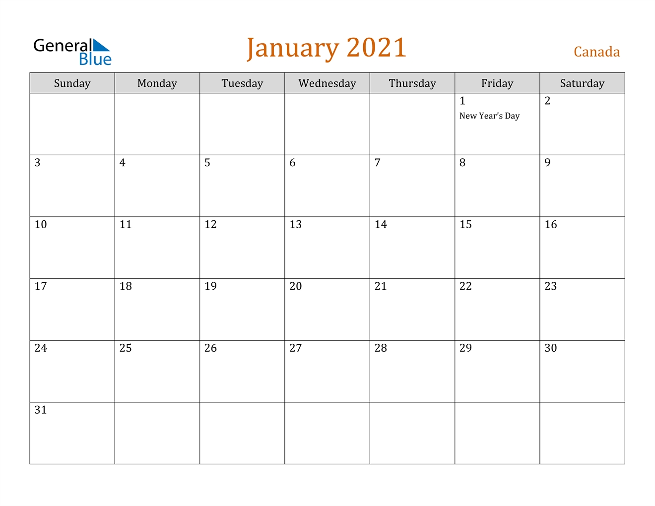 Canada January 2021 Calendar With Holidays