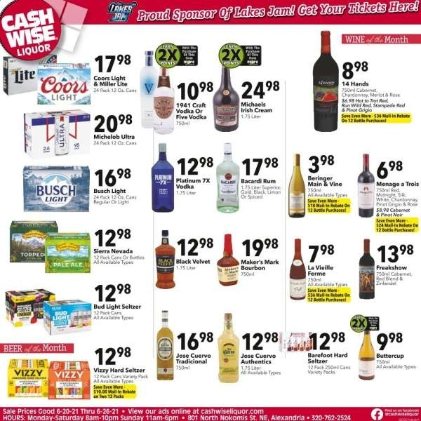 Cash Wise Liquor Only Flyer 06.20.2021 - 06.26.2021 - Page