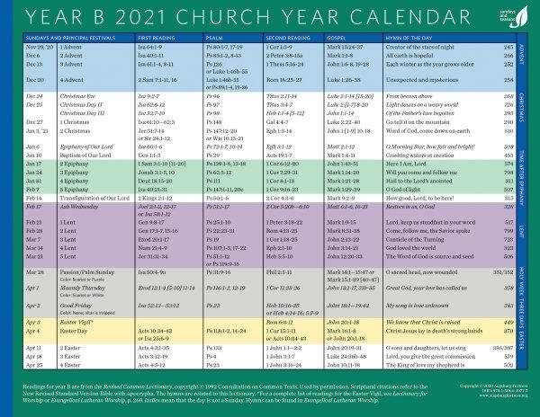 Church Year Calendar, Year B 2021 | Augsburg Fortress
