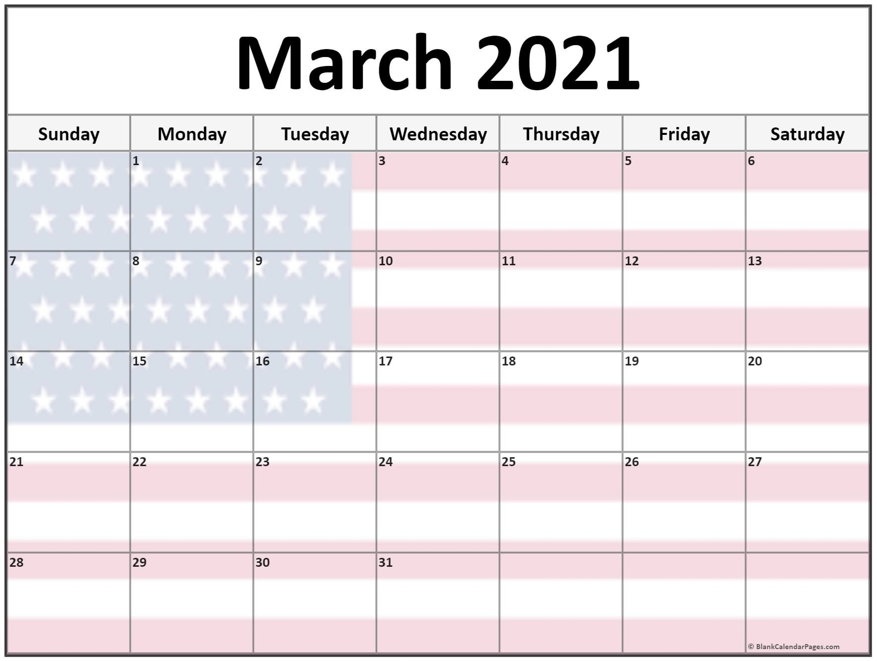 Collection Of March 2021 Photo Calendars With Image Filters.