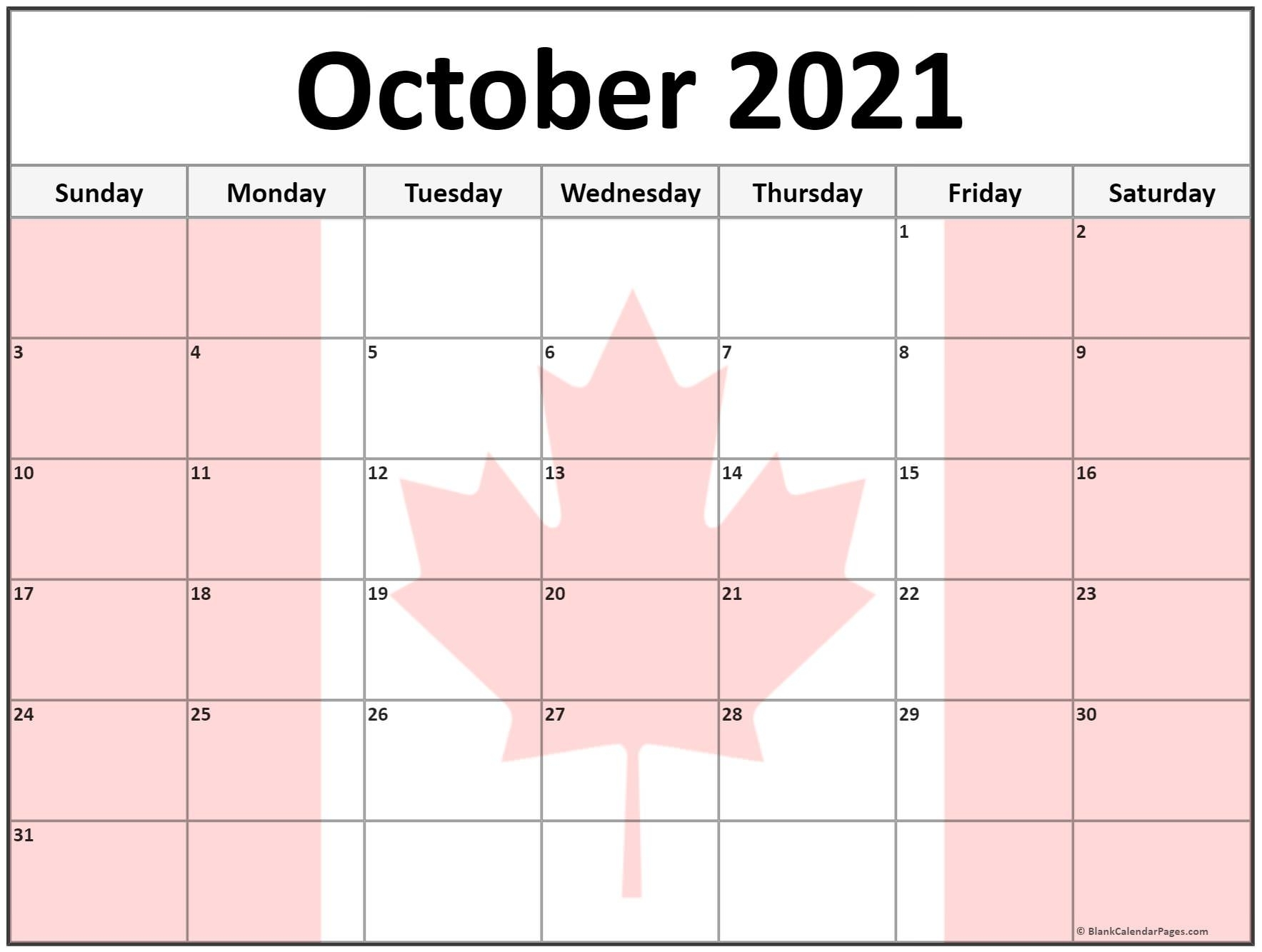 Collection Of October 2021 Photo Calendars With Image Filters.