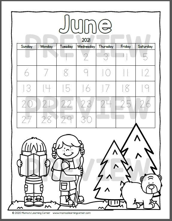 Color Your Own Calendar 2020-2021 - Mamas Learning Corner