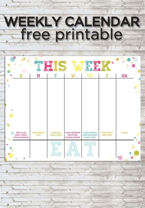 Colorful Weekly Calendar :: Free Printable | Weekly