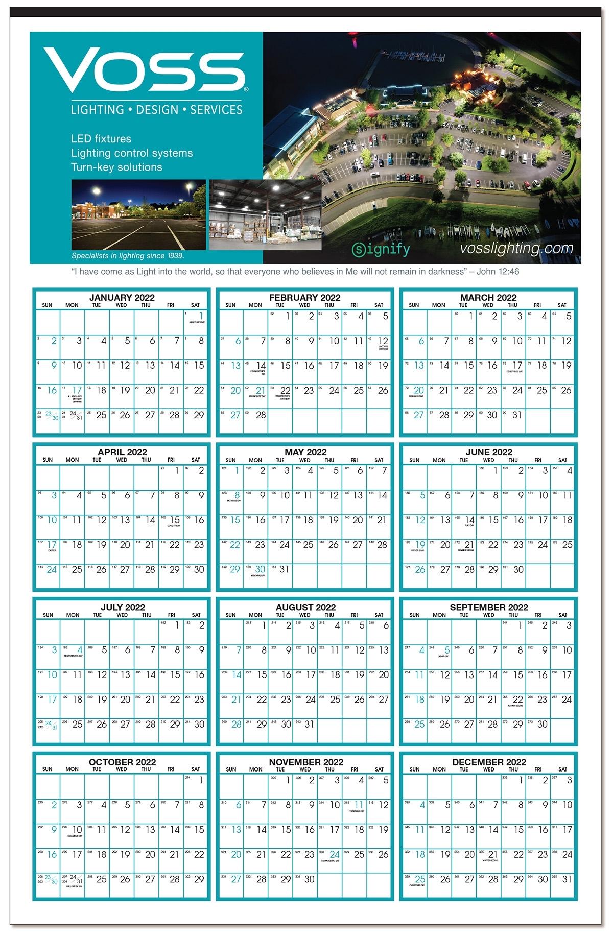 Custom Color Year At A Glance Calendar: Calendar Company