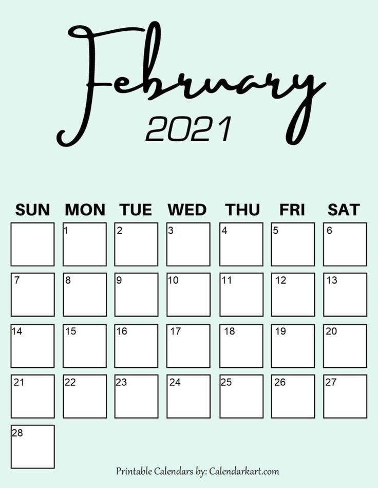 Cute & Free Printable February 2021 Calendars { 6 Pretty