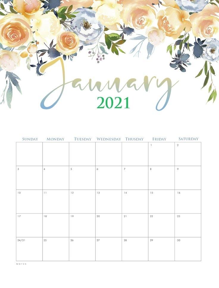 Cute January 2021 Calendar Template | Calendar Printables