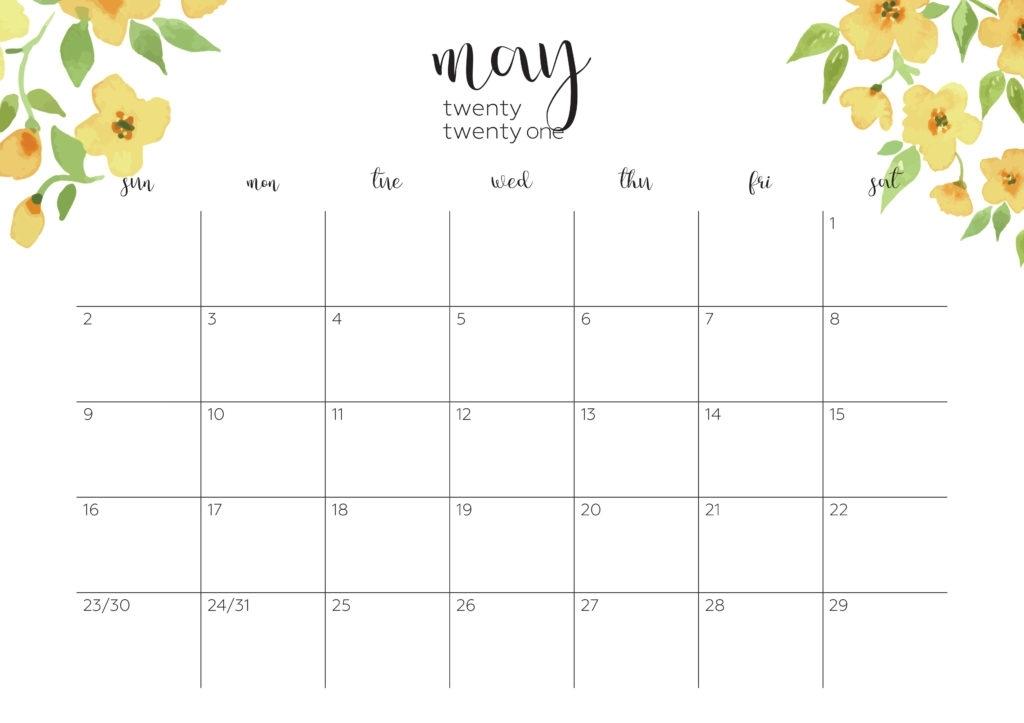 Cute May 2021 Calendar Templates