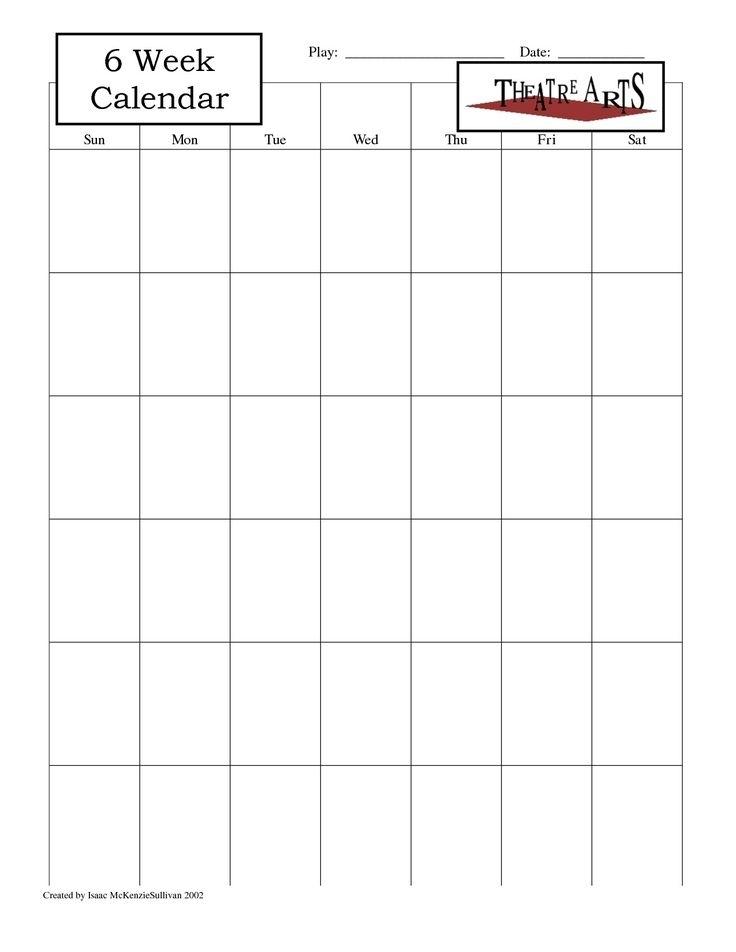 Dashing 6 Week Blank Calendar Printable | Blank Calendar