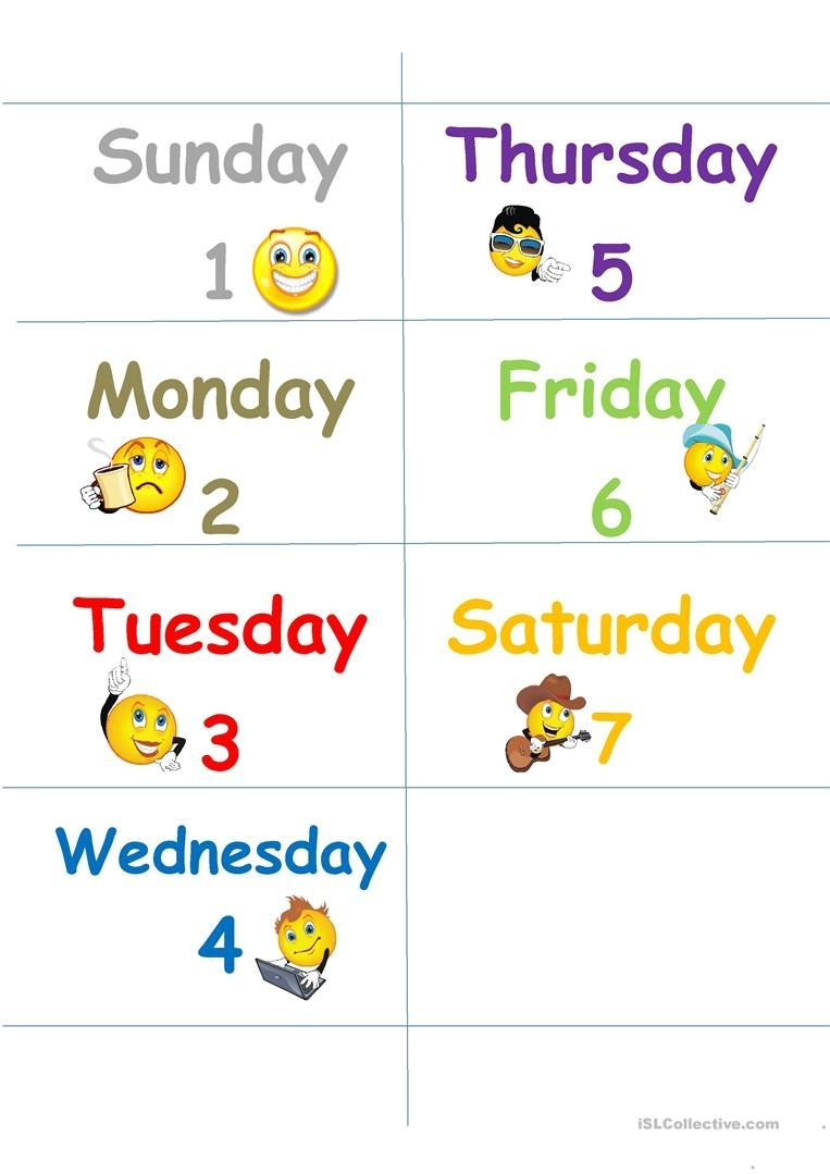 Days Of The Week Flash Cards - English Esl Worksheets For
