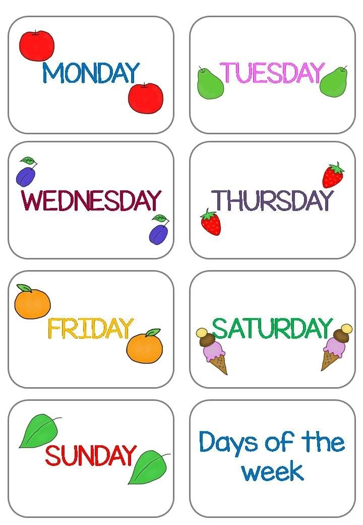 """Days Of The Week Flashcards That Matches """"The Very Hungry"""
