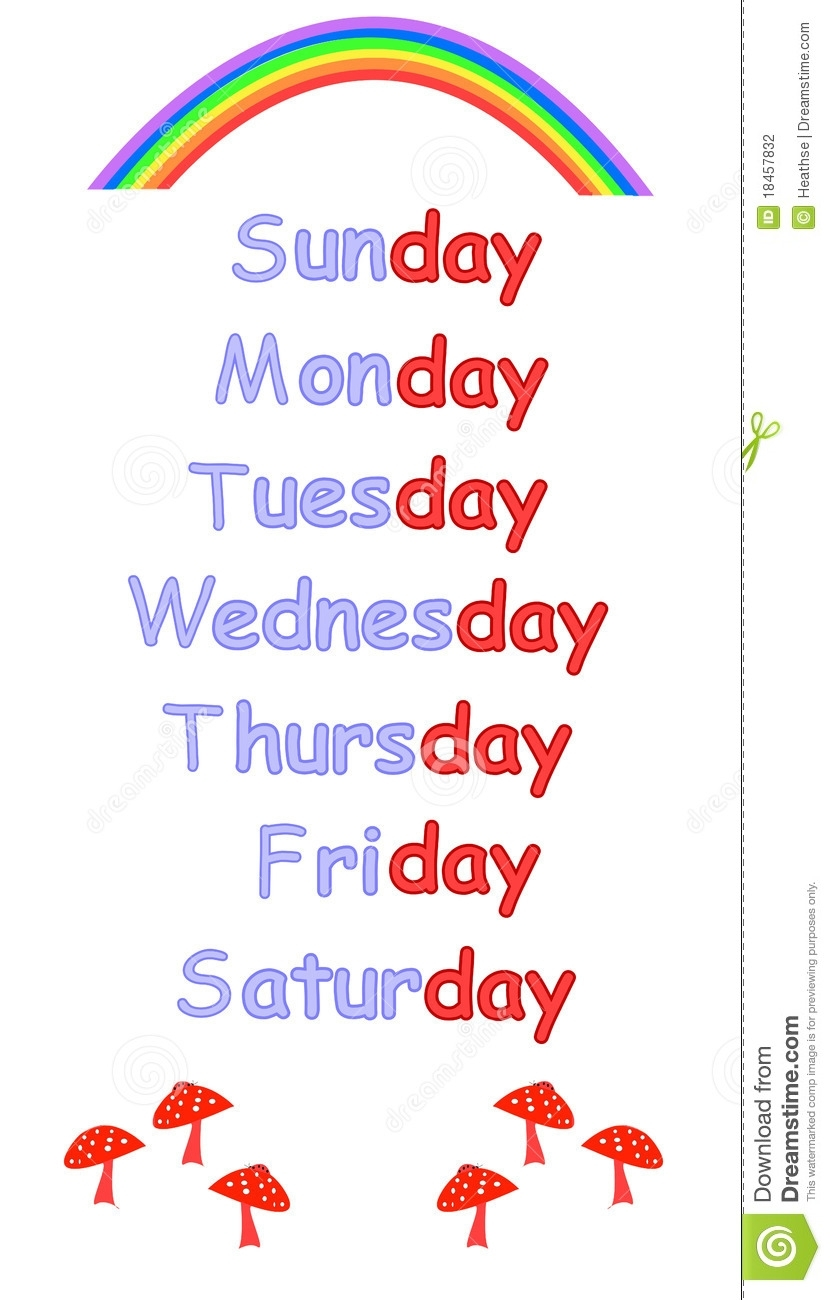 Days Of The Week For Childrens Education Stock