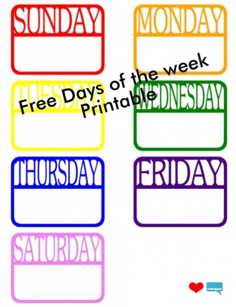 Days Of The Week (Free Printable) + Silhouette File