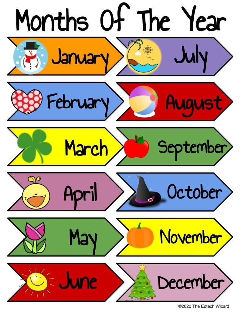 Days Of The Week, Months Of The Year, Printable, Vipkid