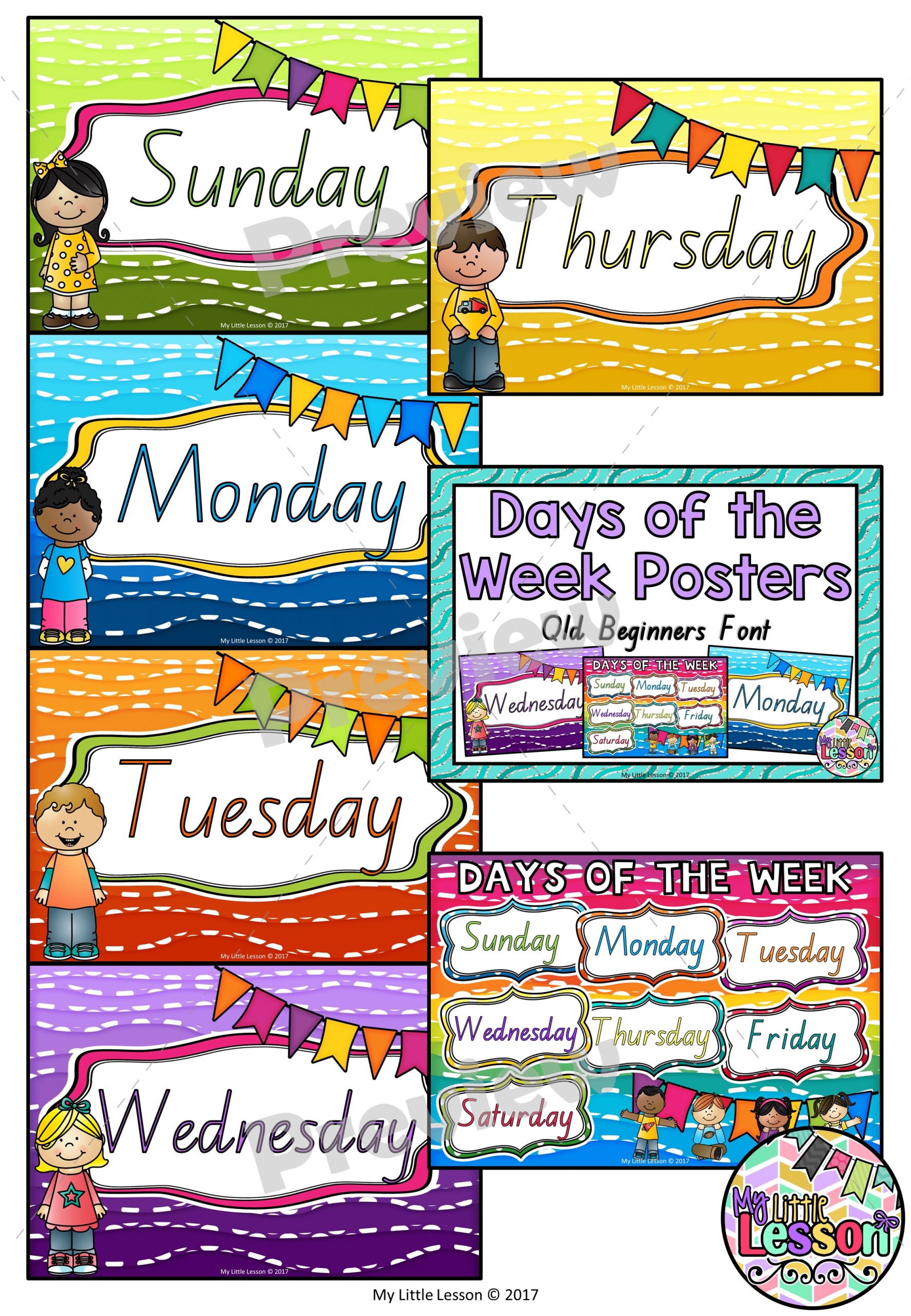 Days Of The Week Posters Qld Beginners Font - The Alphabet