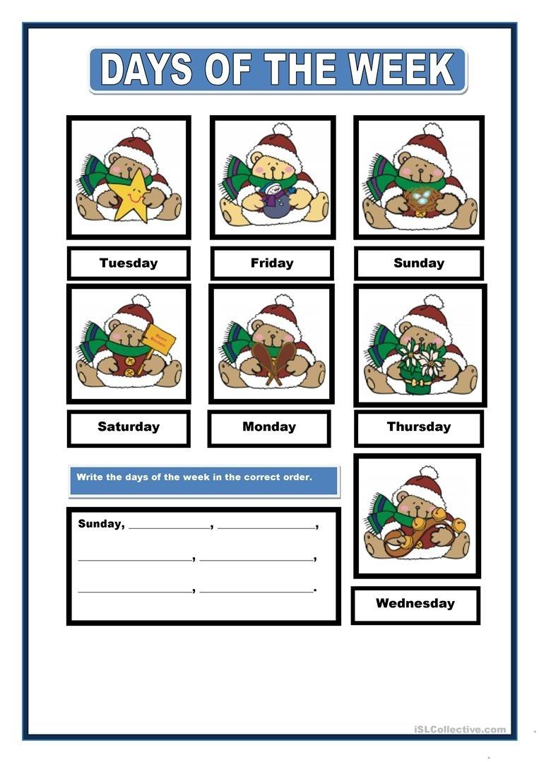 Days Of The Week Worksheet - Free Esl Printable Worksheets