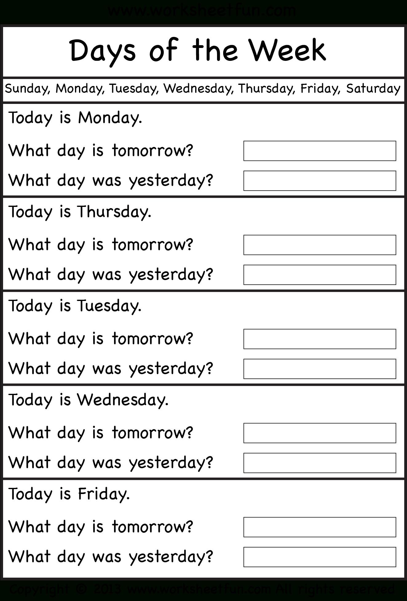 Days Of The Week - Worksheet / Free Printable Worksheets