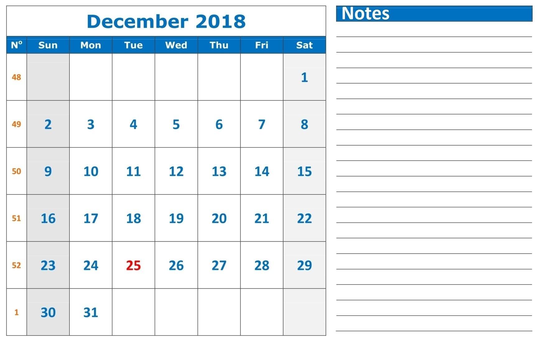 December 2018 Google Sheet With Notes | Calendar Template