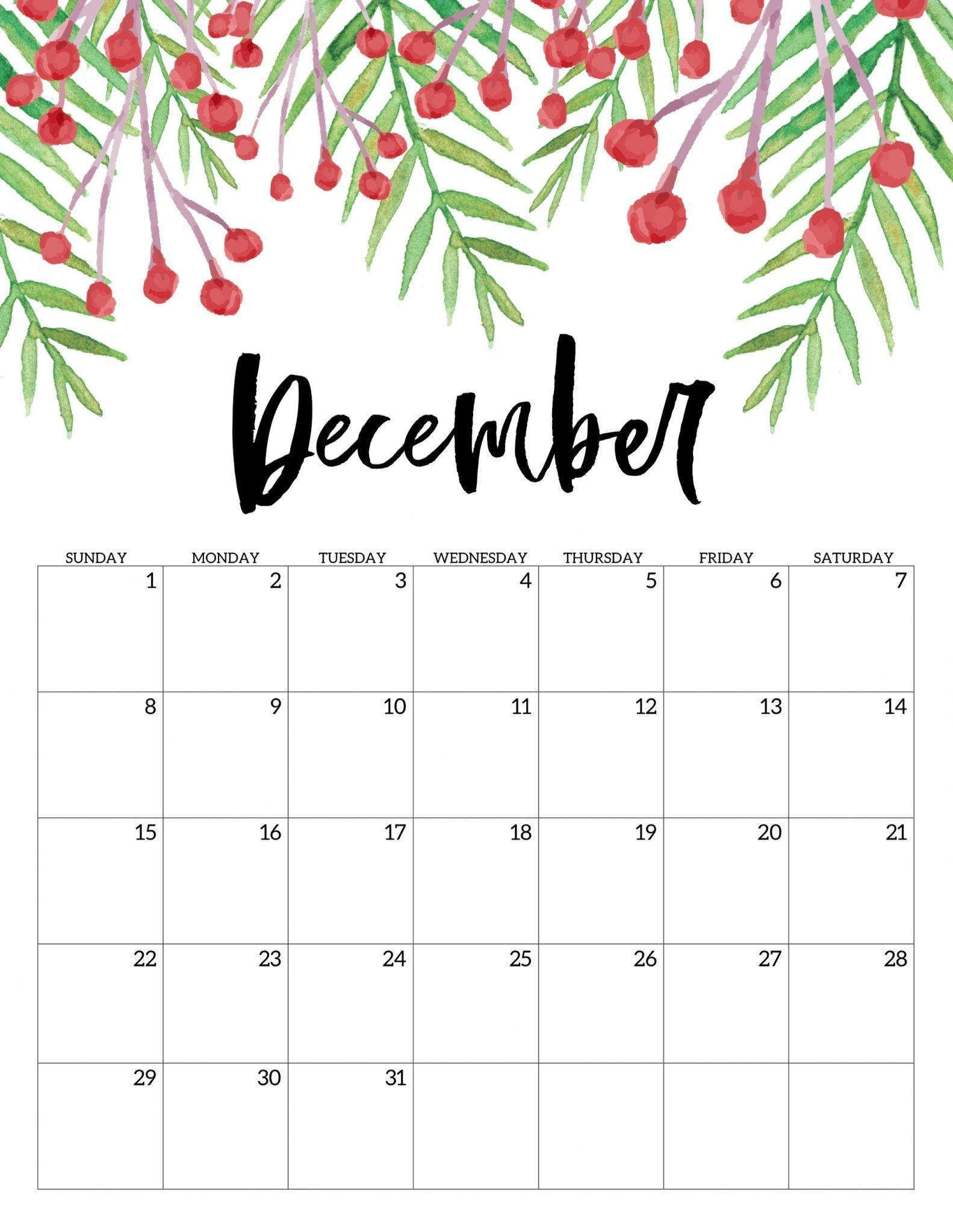 December 2019 Calendar A4 Size Landscape Vertical Portrait