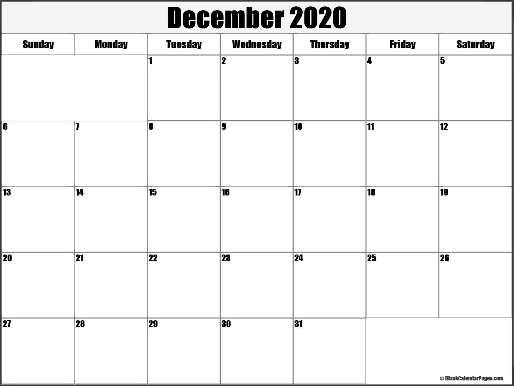 December 2020 Blank Calendar Templates.
