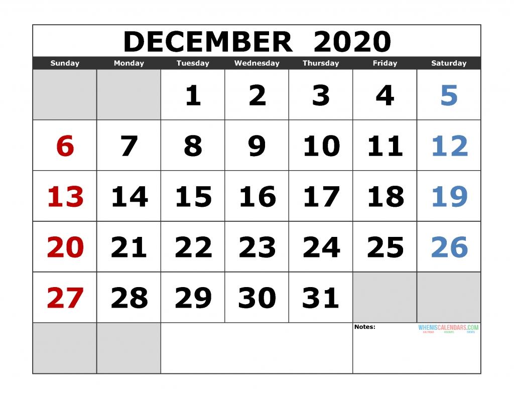 December 2020 Printable Calendar Template Excel, Pdf