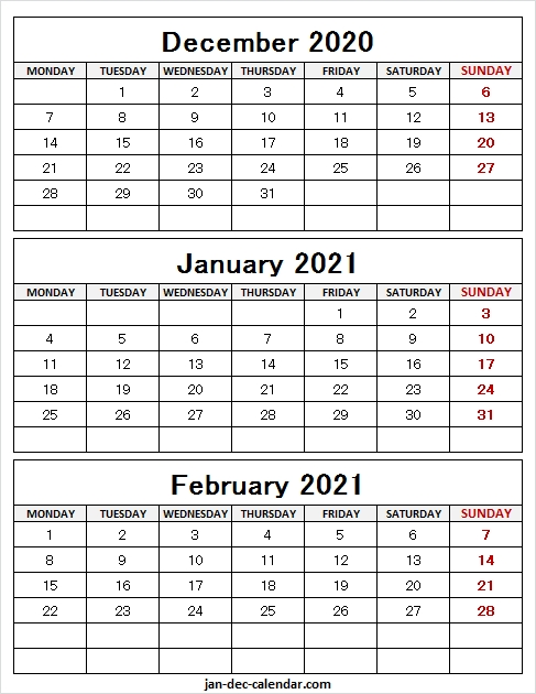December 2020 To February 2021 Calendar Free - Three Month