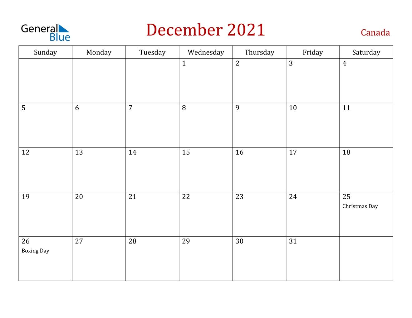 December 2021 Calendar - Canada
