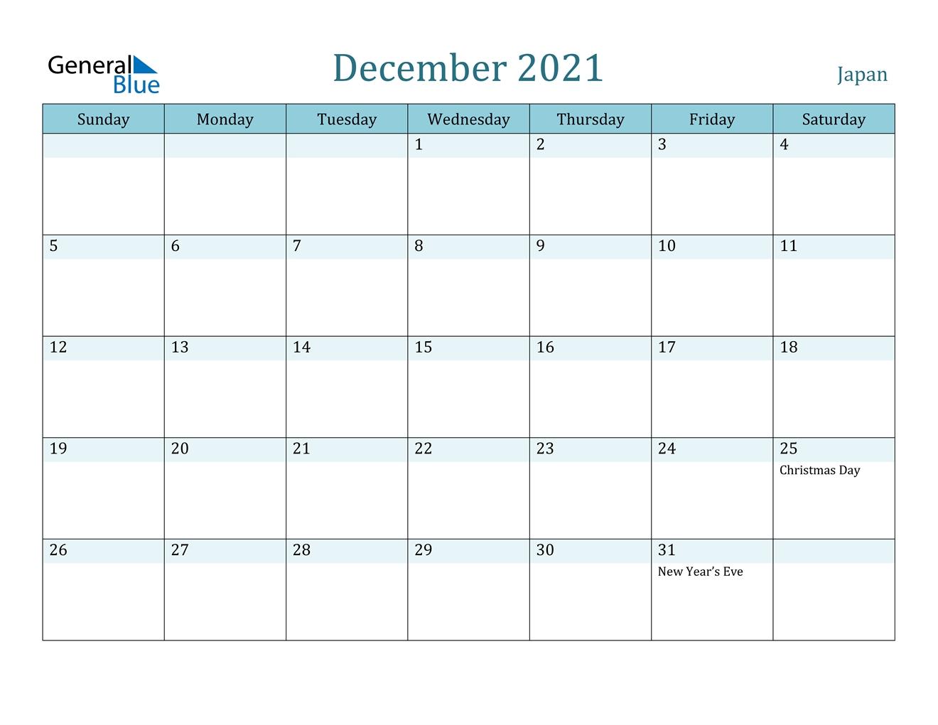 December 2021 Calendar - Japan
