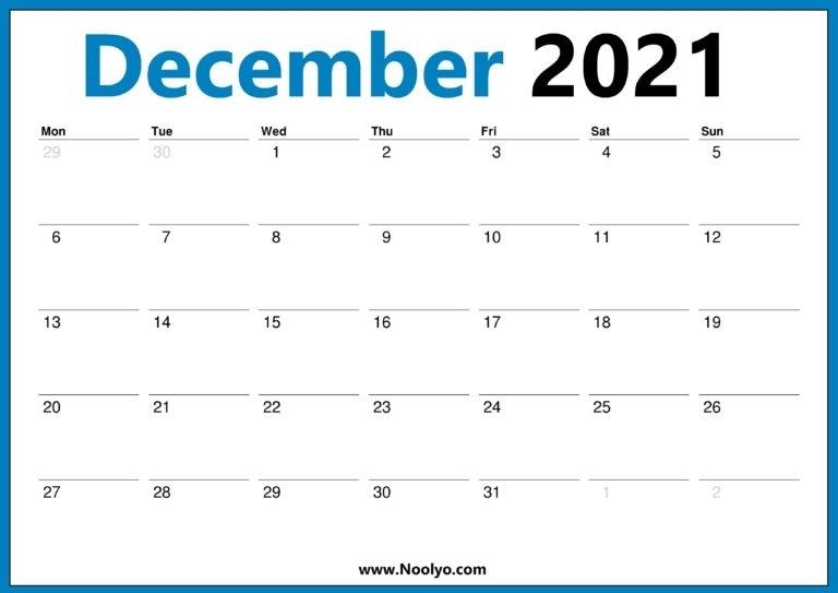 December 2021 Calendar Printable Monday Start - Noolyo