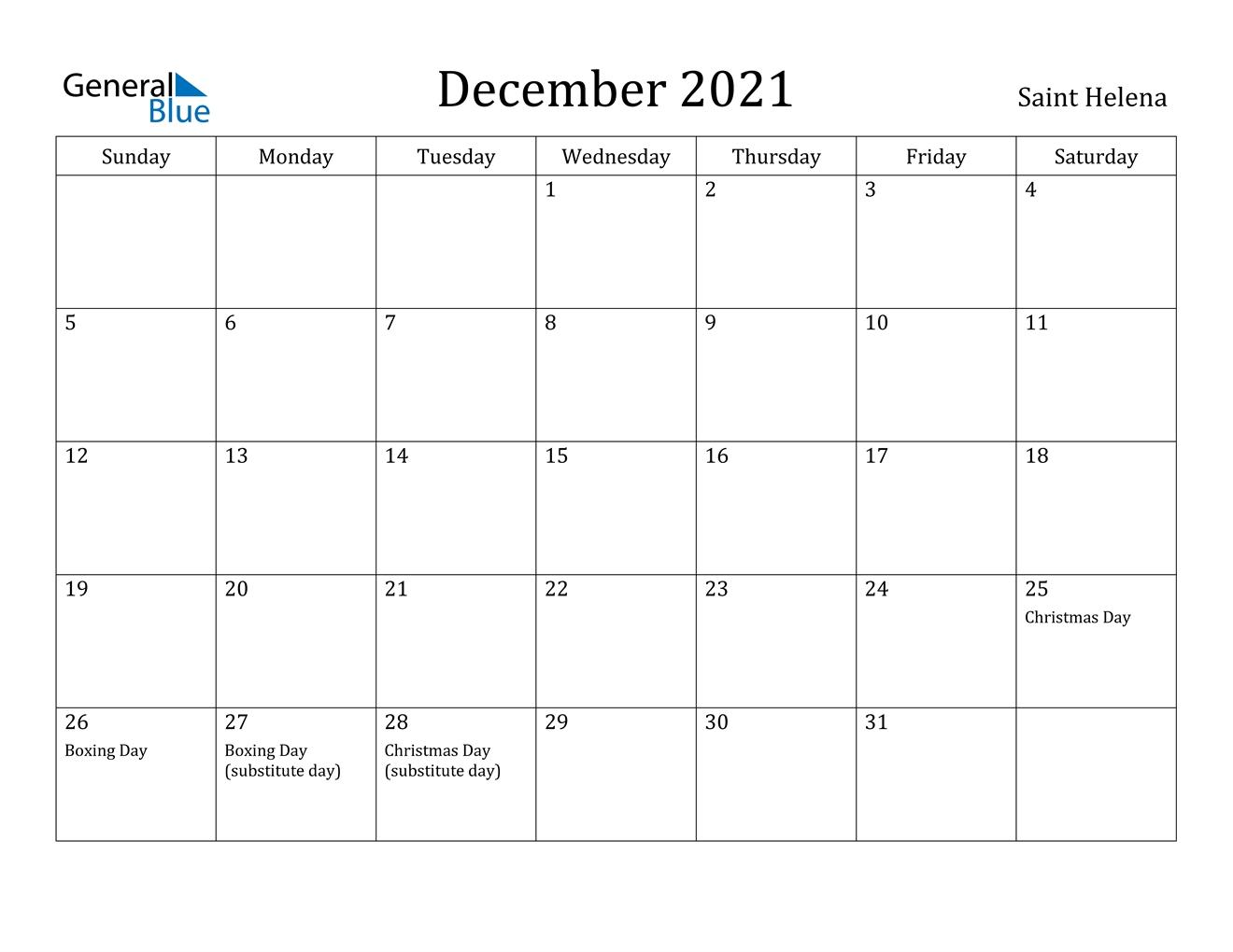 December 2021 Calendar - Saint Helena