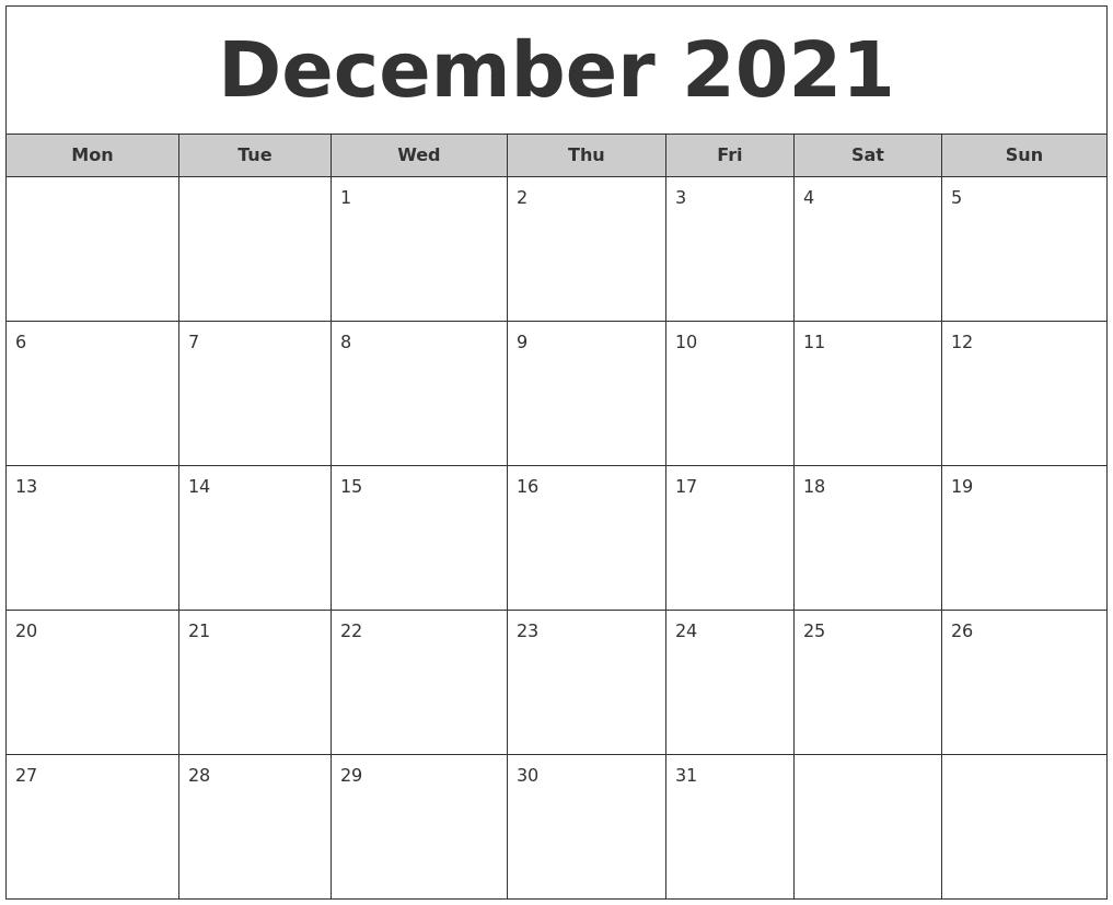 December 2021 Free Monthly Calendar