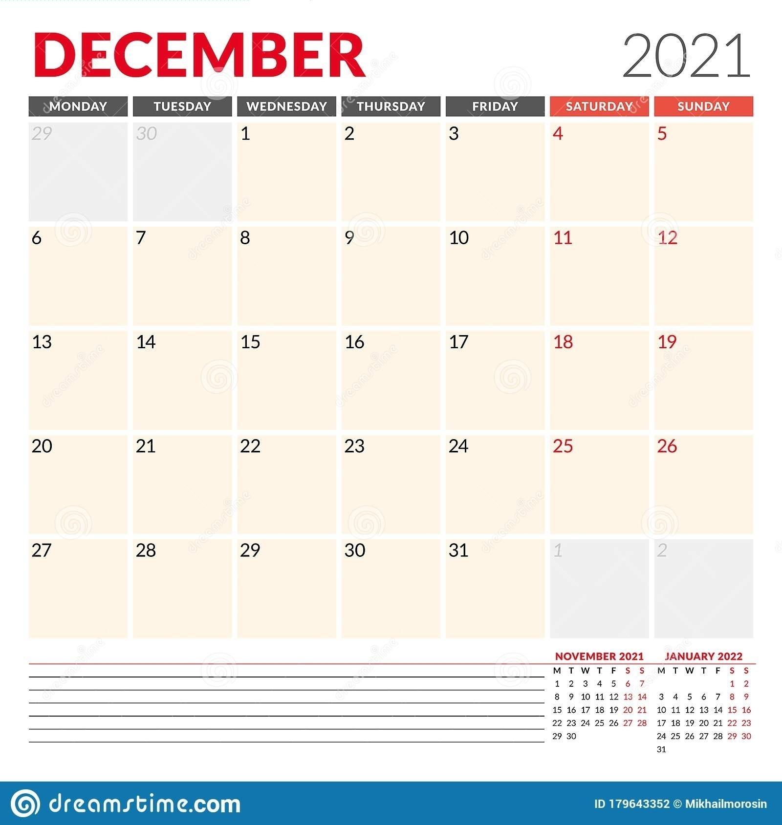 December 2021 Starts Monday | Best Calendar Example