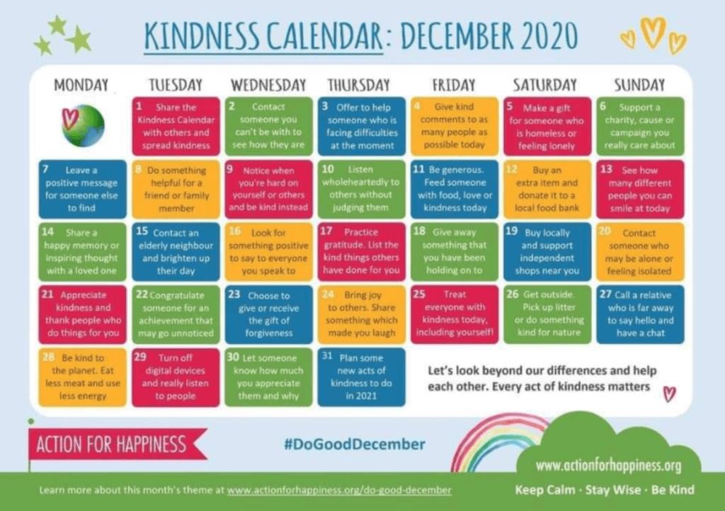 December Kindness Calendar - Nowlin Social Work