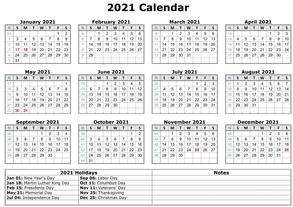 Download Free Printable 2021 Calendar With Holidays - Easy