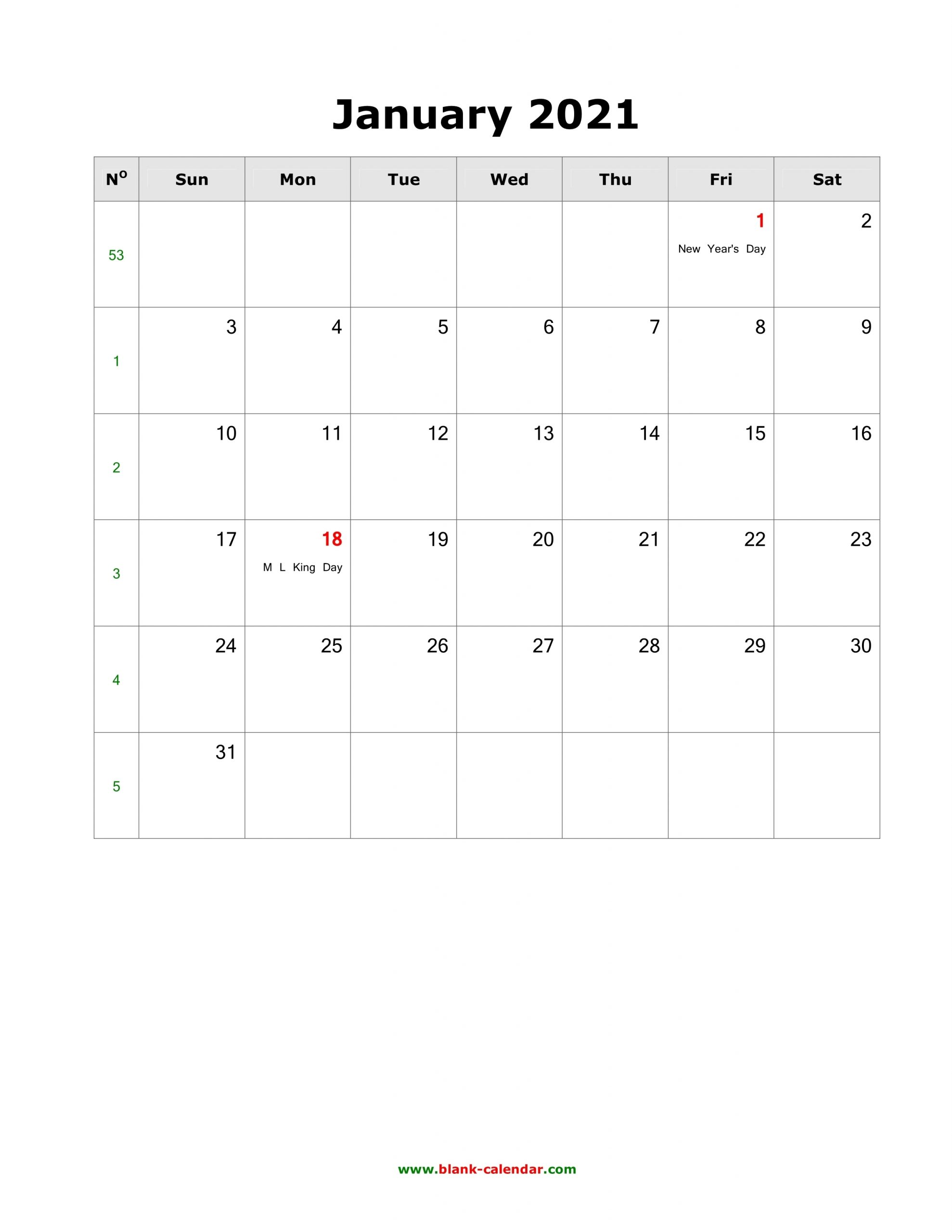 Download January 2021 Blank Calendar With Us Holidays