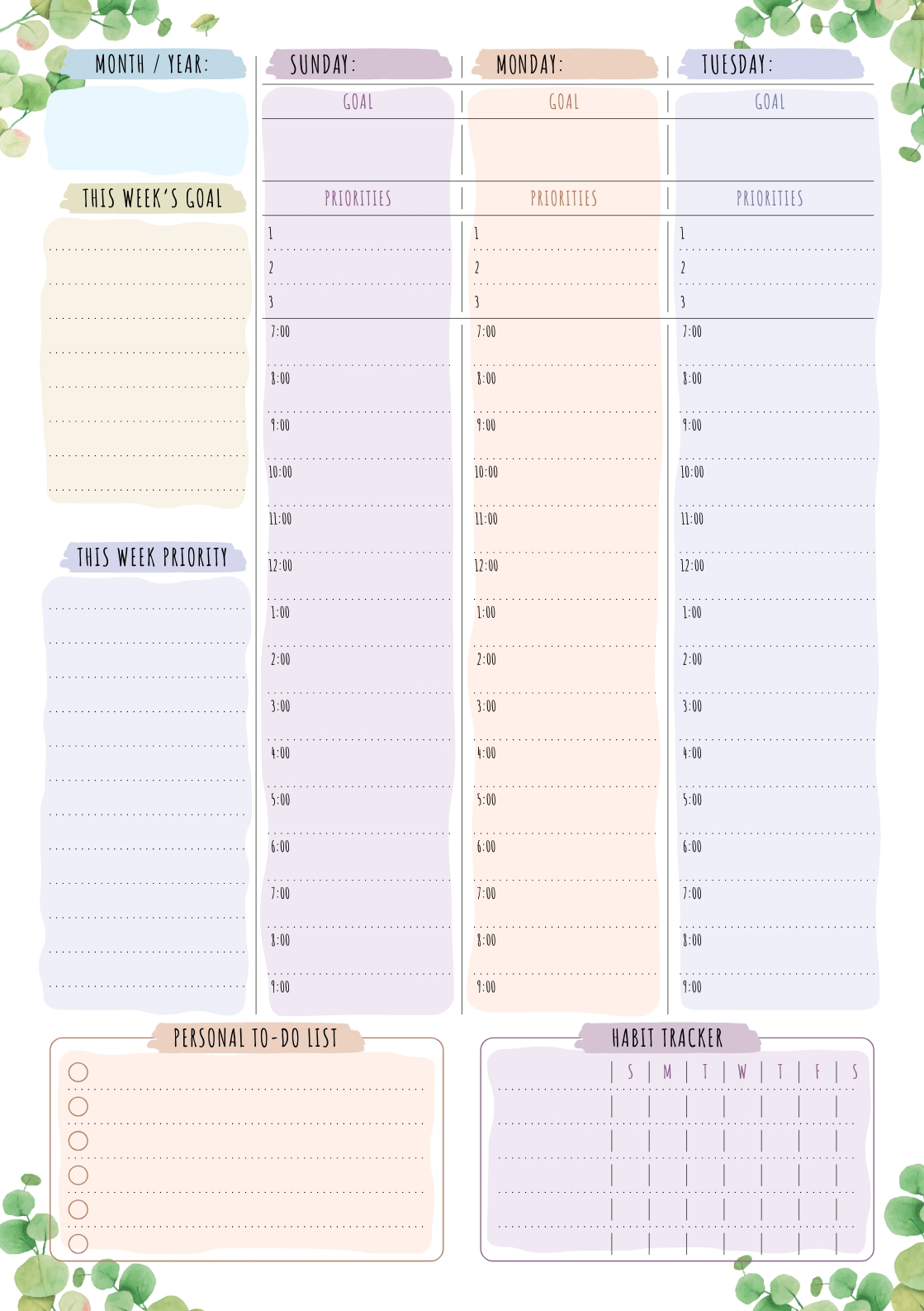 Download Printable Weekly Planner - Floral Style - Undated Pdf