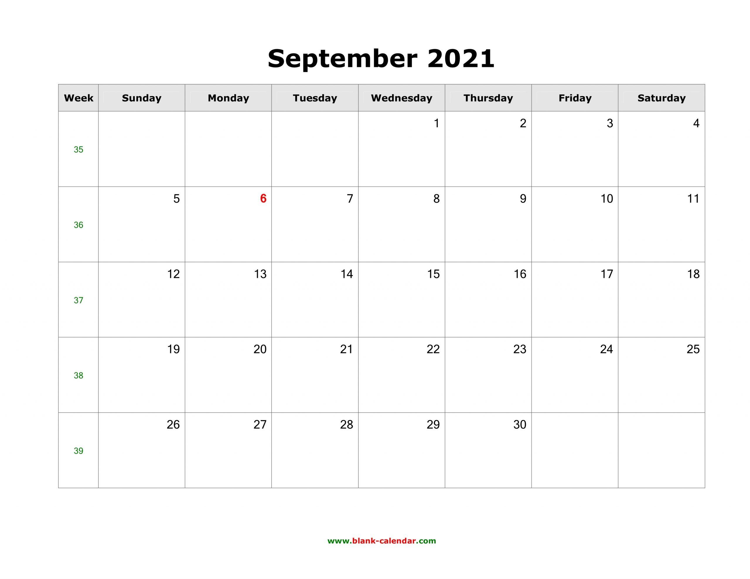 Download September 2021 Blank Calendar (Horizontal)