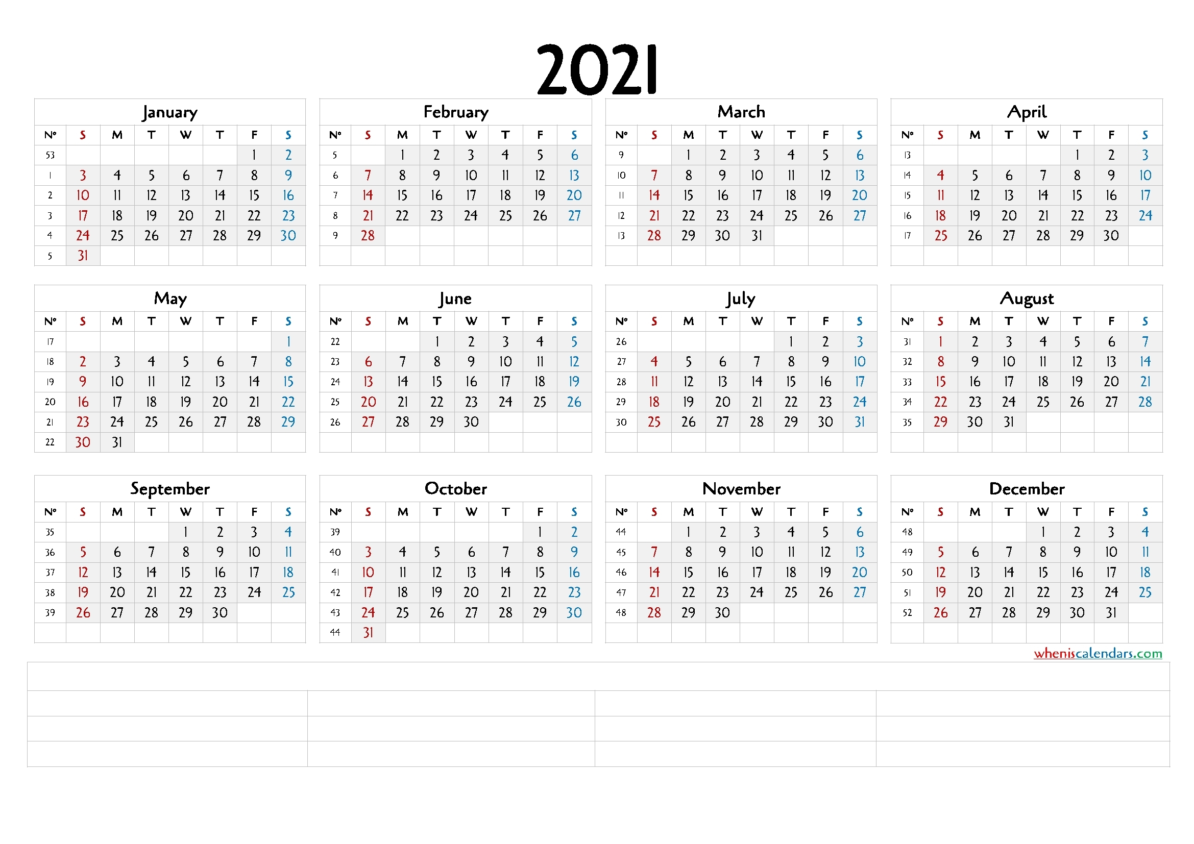 Downloadable 2021 Monthly Calendar (6 Templates) - Free