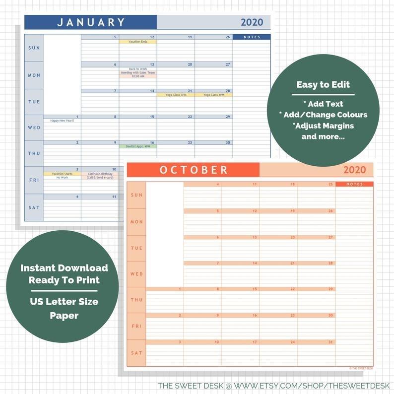 Editable 2020 Excel Calendar Template Lined Vertical | Etsy